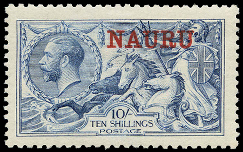 NAURU 1916  SG23 Mint 10s pale blue De La Rue printing
