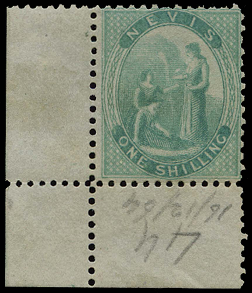 NEVIS 1862  SG4 Mint 1s green on greyish paper perf 13