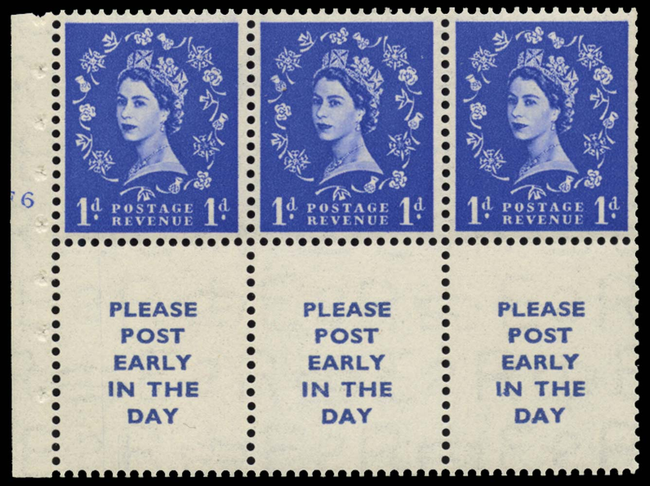 GB 1954  SG516a Booklet pane U/M