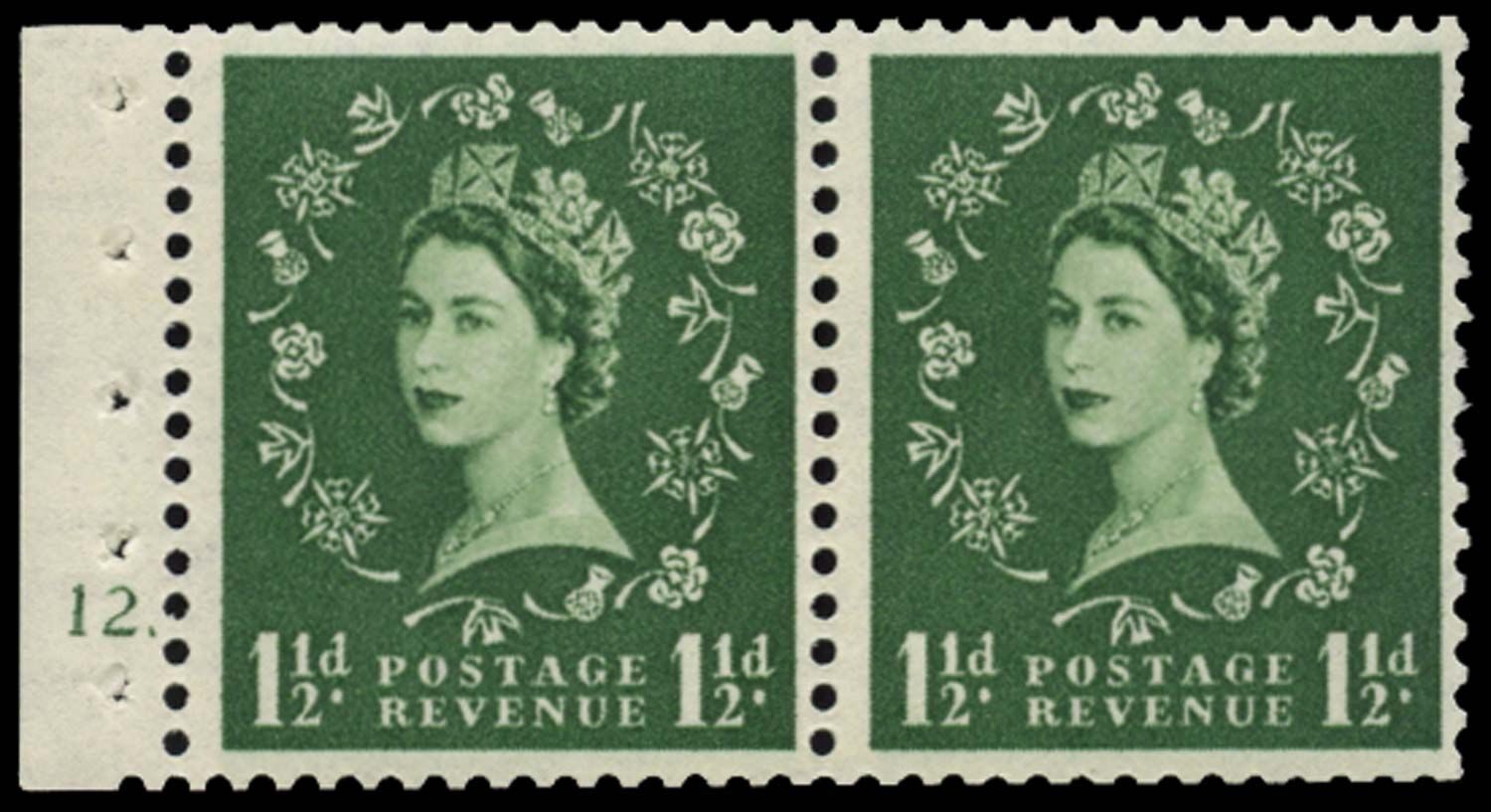 GB 1953  SG517n Booklet pane U/M pane of two