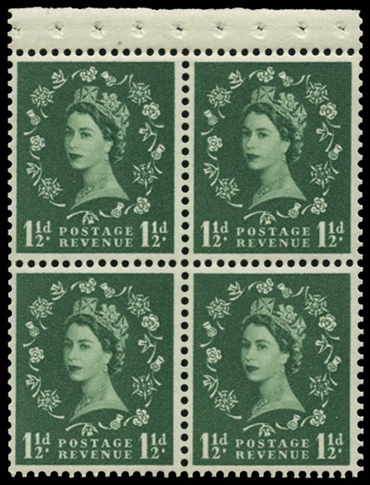 GB 1961  SG572mb Booklet pane U/M pane of four