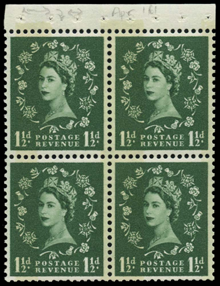 GB 1961  SG612mb Booklet pane U/M pane of four