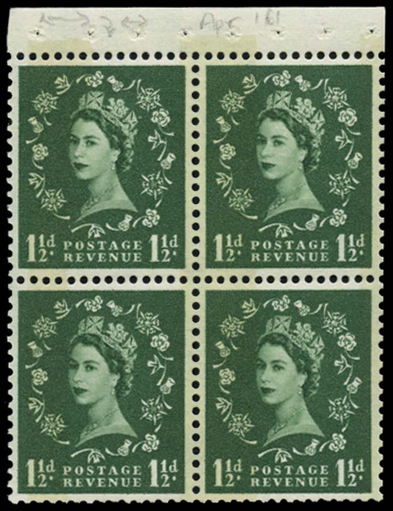 GB 1961  SG612mb Booklet pane U/M pane of four