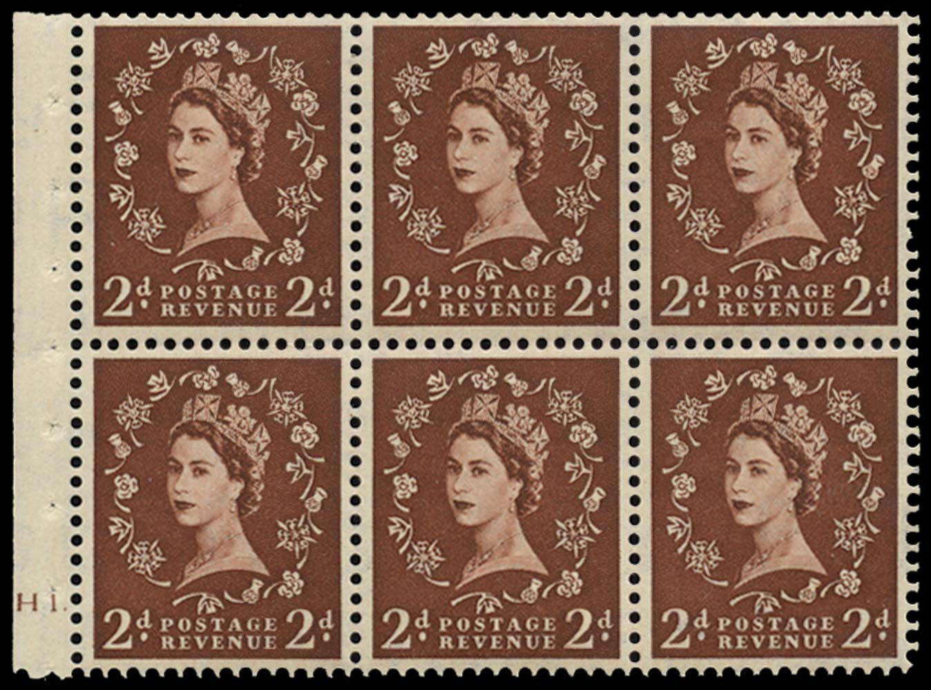 GB 1954  SG518l Booklet pane U/M