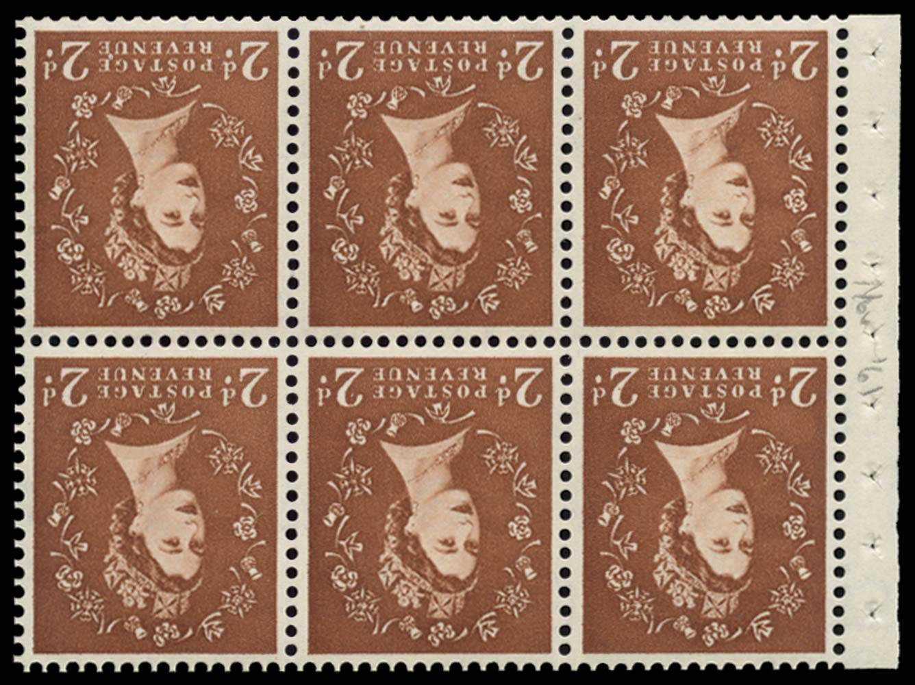 GB 1961  SG573lwi Booklet pane of six, U/M