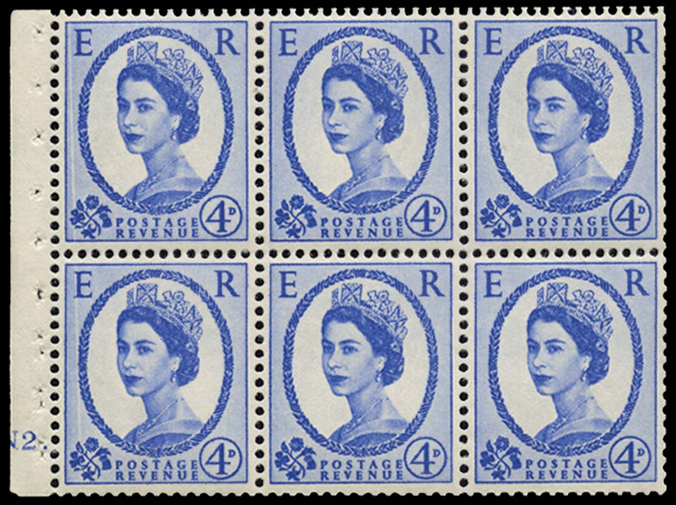 GB 1965  SG576al Booklet pane of four