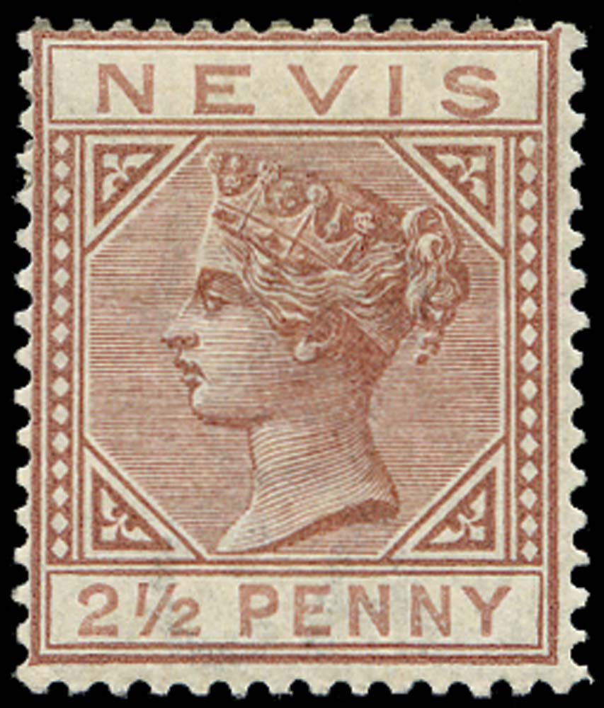 NEVIS 1882  SG28 Mint 2½d red-brown watermark CA