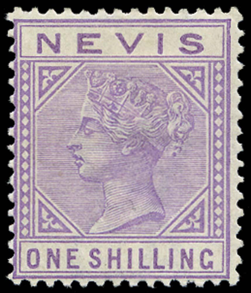NEVIS 1882  SG34 Mint 1s pale violet watermark CA