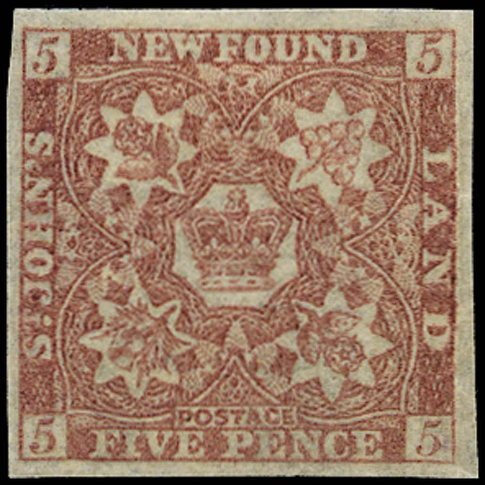 NEWFOUNDLAND 1860  SG13 Mint 5d Venetian red hand-made paper