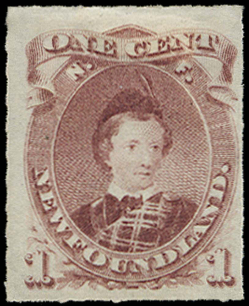 NEWFOUNDLAND 1876  SG40 Mint 1c lake-purple rouletted