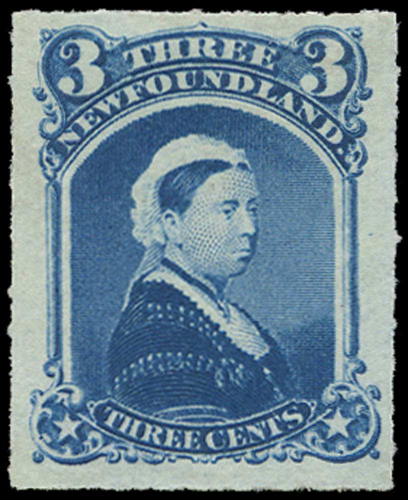 NEWFOUNDLAND 1876  SG42 Mint 3c blue rouletted Queen Victoria