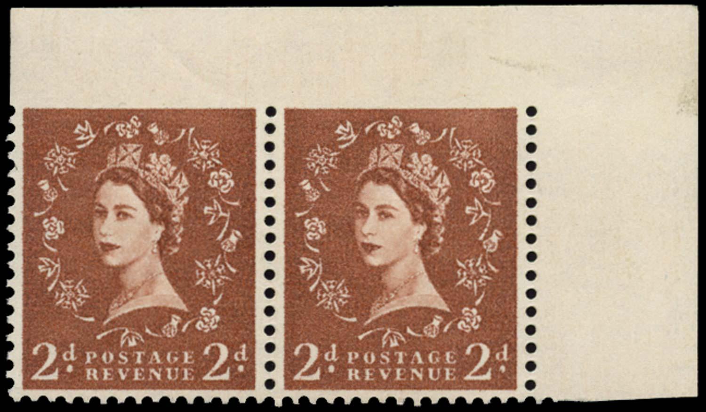 GB 1958  SG573var Mint - Imperf between stamp and top margin