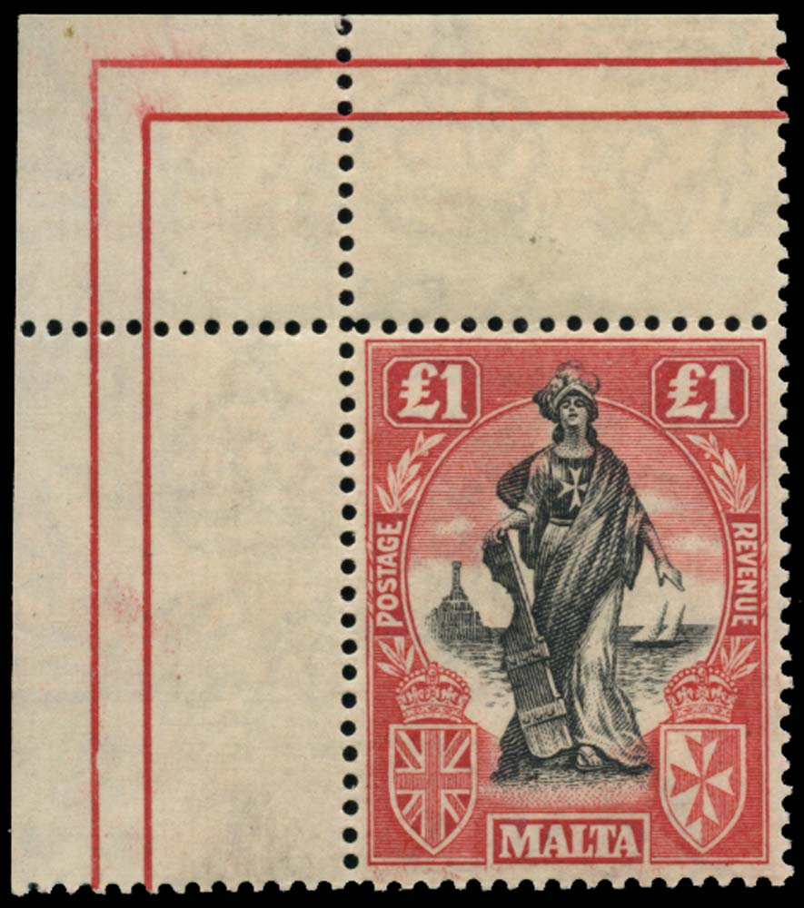 MALTA 1922  SG140 Mint £1 watermark upright