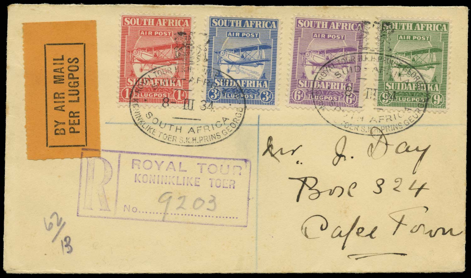 SOUTH AFRICA 1934  SG26/29 Cover Royal Tour registered airmail