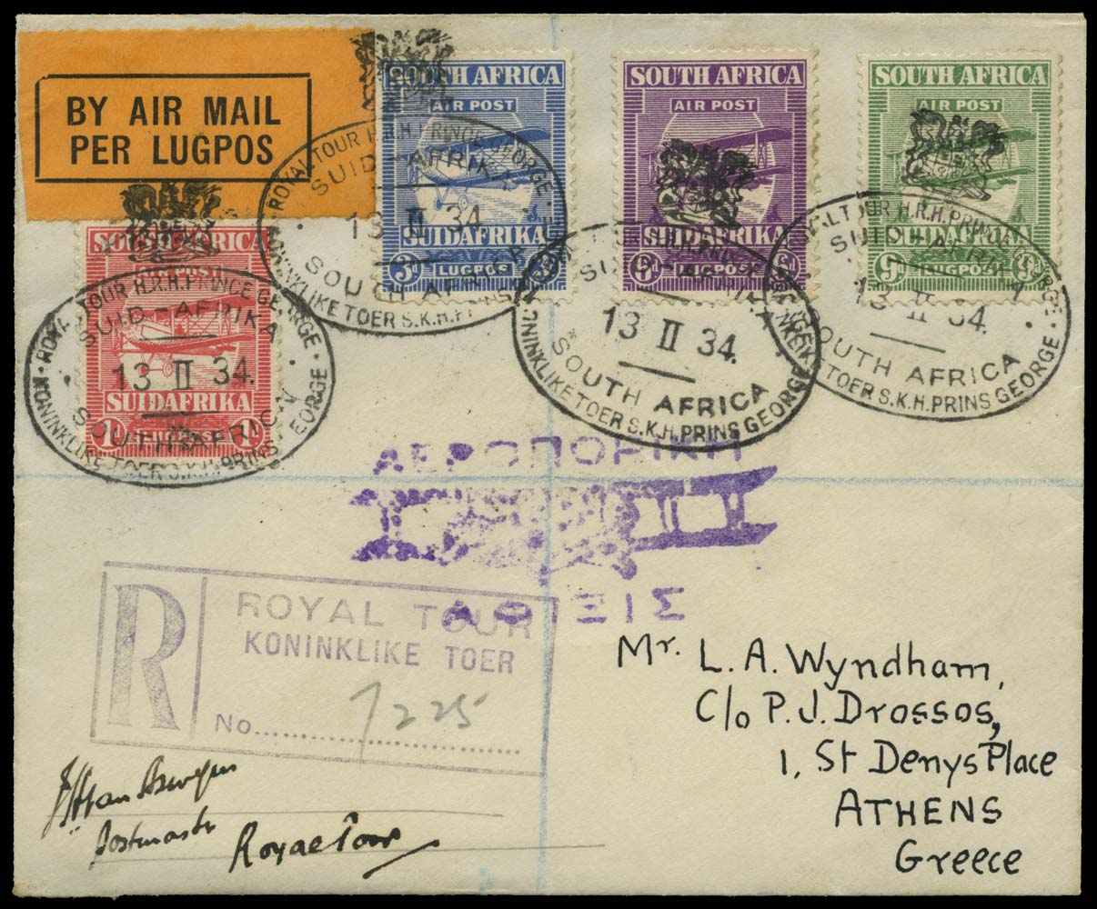 SOUTH AFRICA 1934  SG26/29 Cover signed Royal Tour registered airmail cover