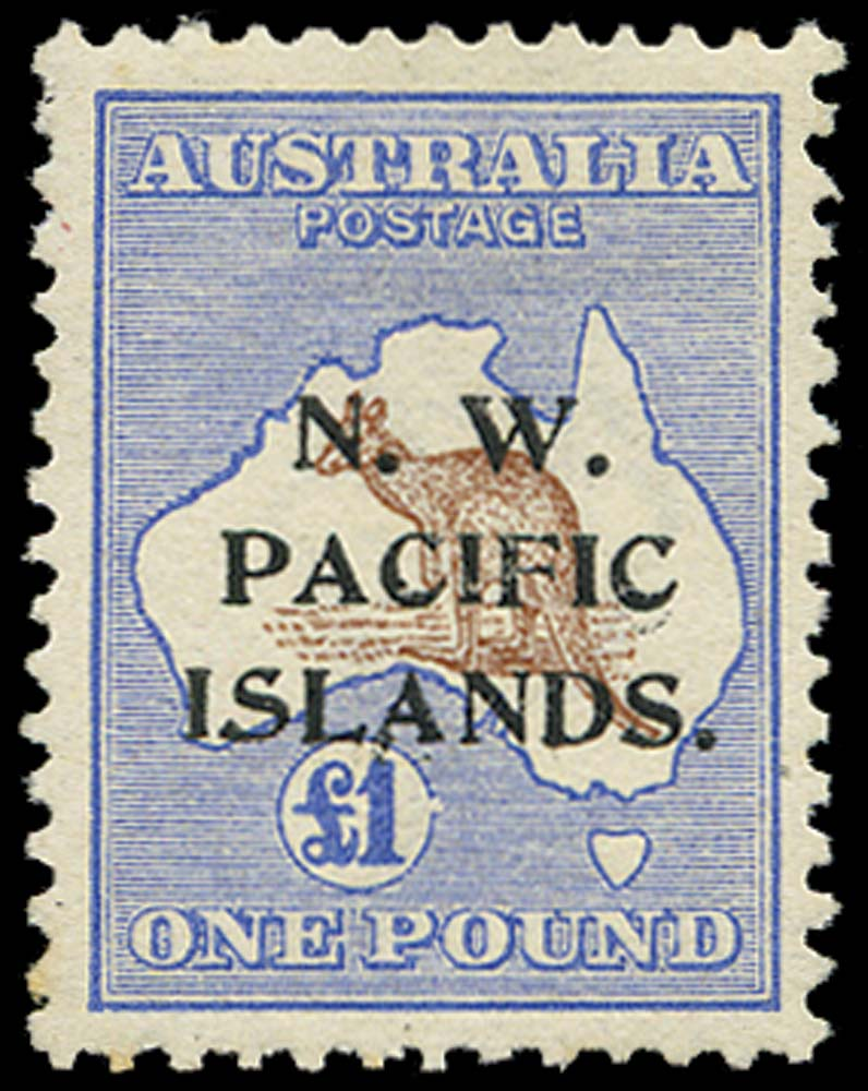 NEW GUINEA 1915  SG85(b) Mint £1 type b overprint Break in value circle