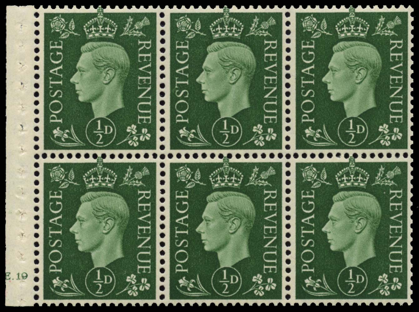 GB 1937  SG462l Booklet pane of six, U/M
