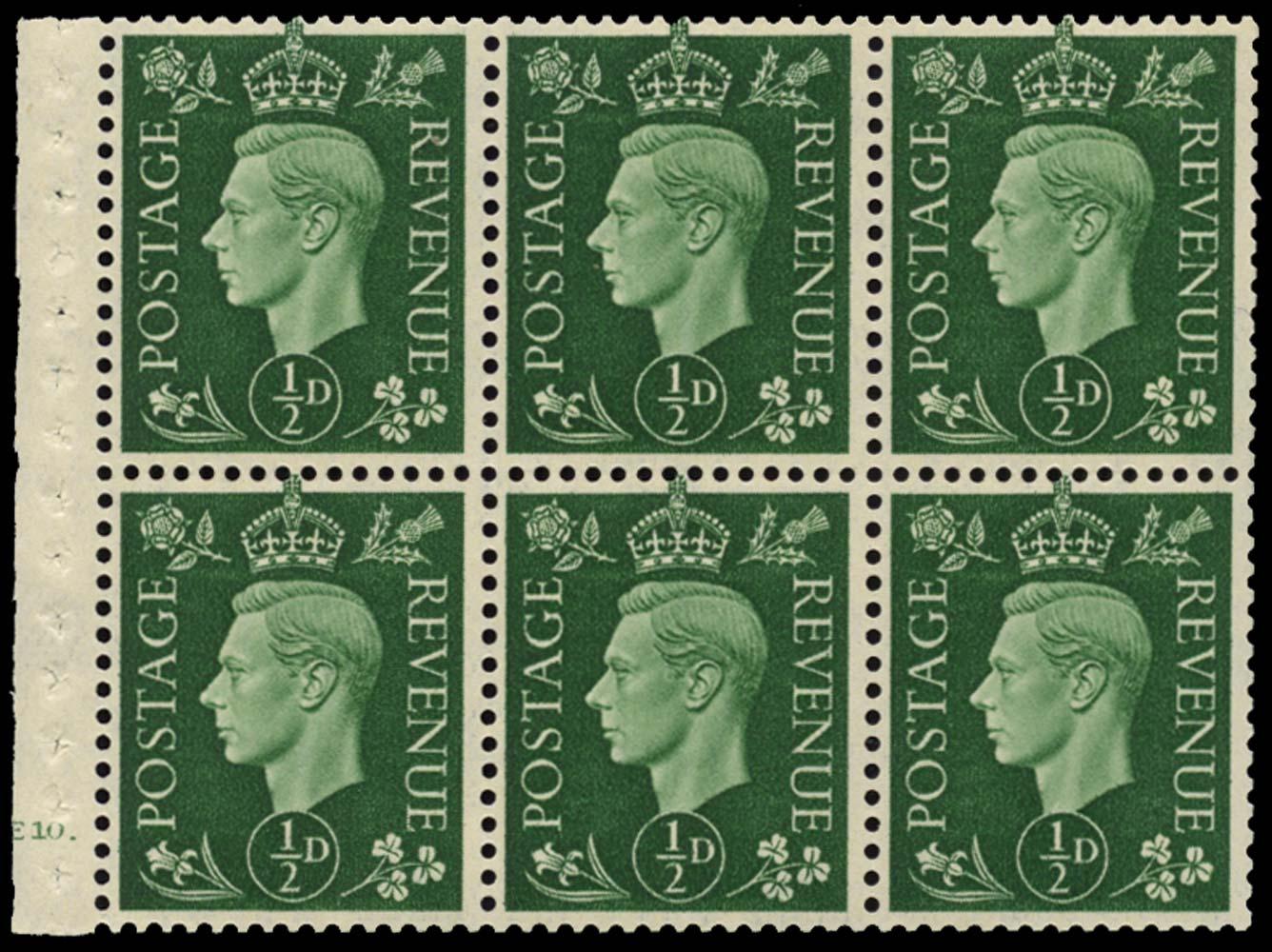 GB 1937  SG462l Booklet pane of six, U/M