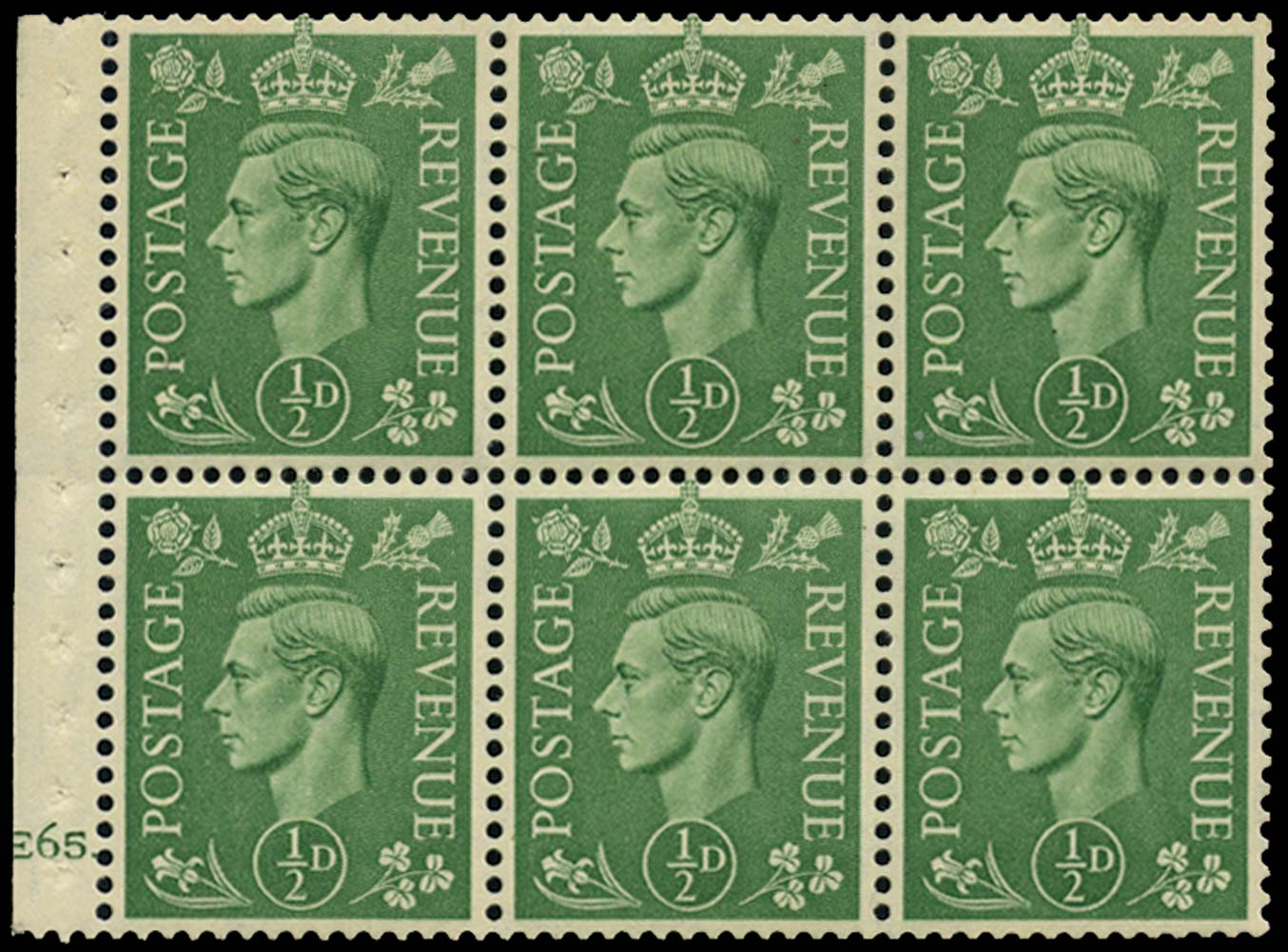 GB 1941  SG485l Booklet pane of six, U/M