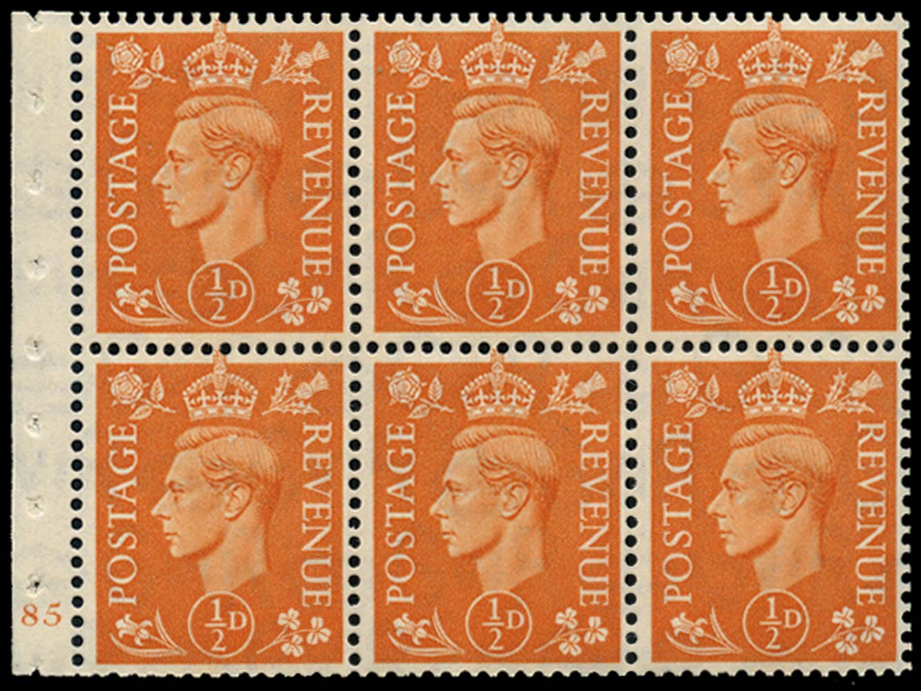 GB 1951  SG503l Booklet pane of six, U/M