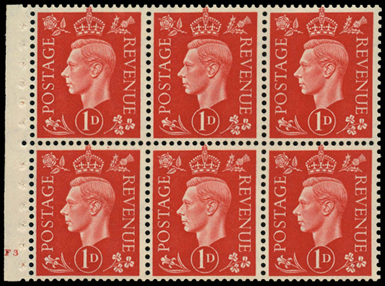 GB 1937  SG463l Booklet pane of six, U/M
