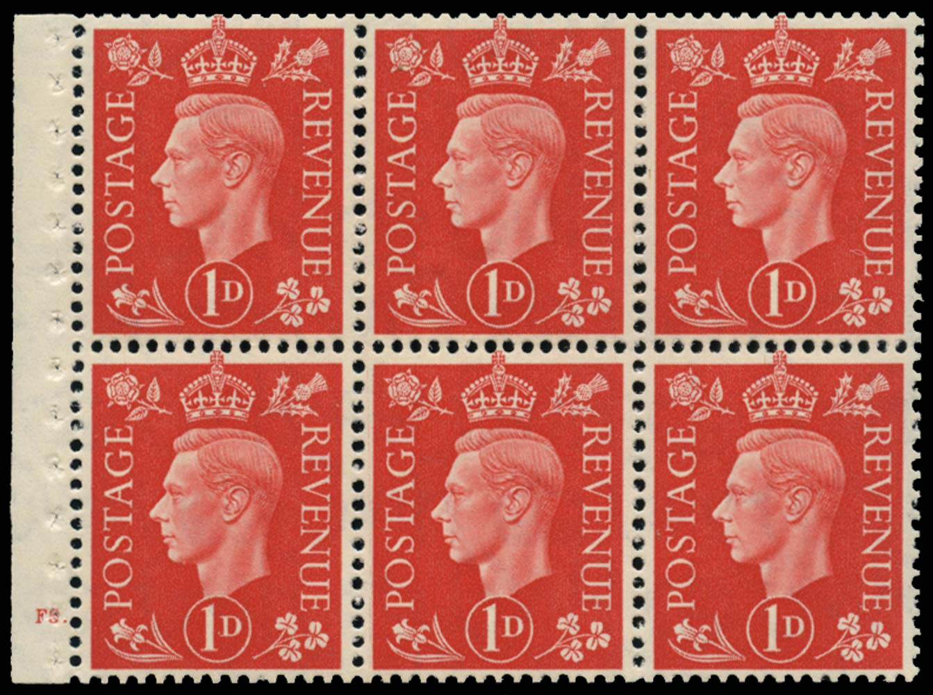 GB 1937  SG463l Booklet pane of six, U/M