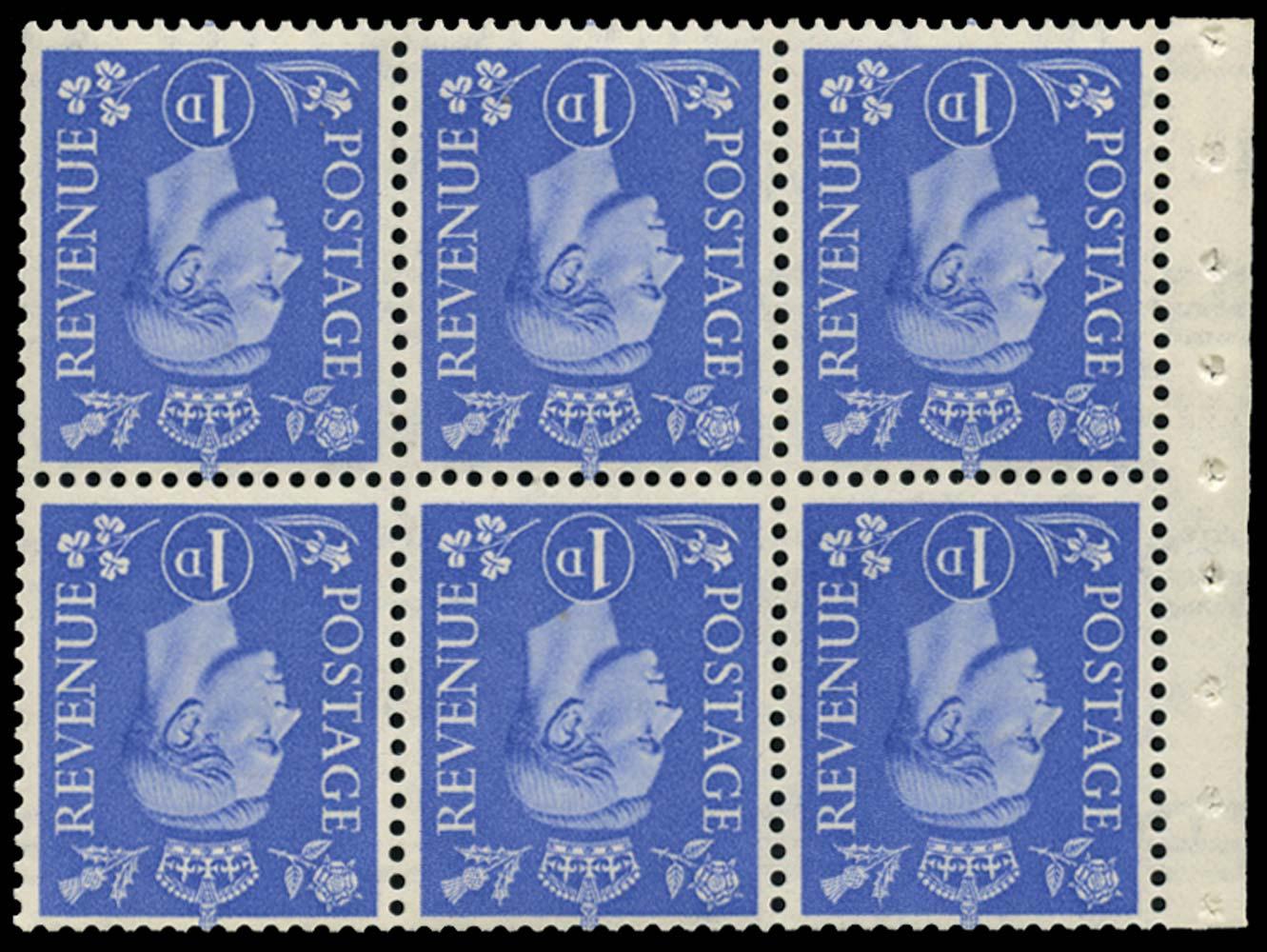 GB 1953  SG504lWi Booklet pane of six, U/M