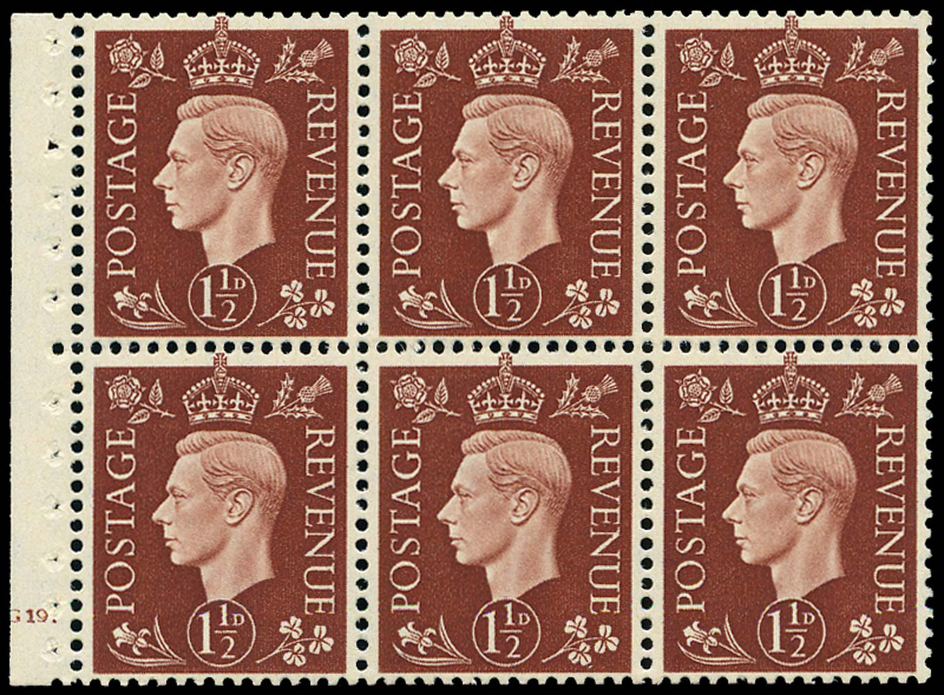GB 1937  SG464l Booklet pane of six, U/M