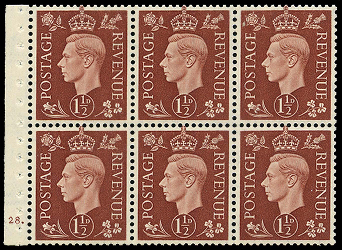 GB 1937  SG464l Booklet pane of six, U/M