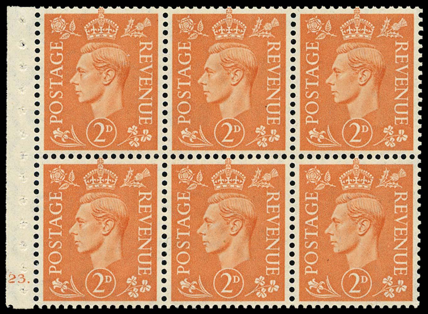 GB 1942  SG488l Booklet pane of six, U/M