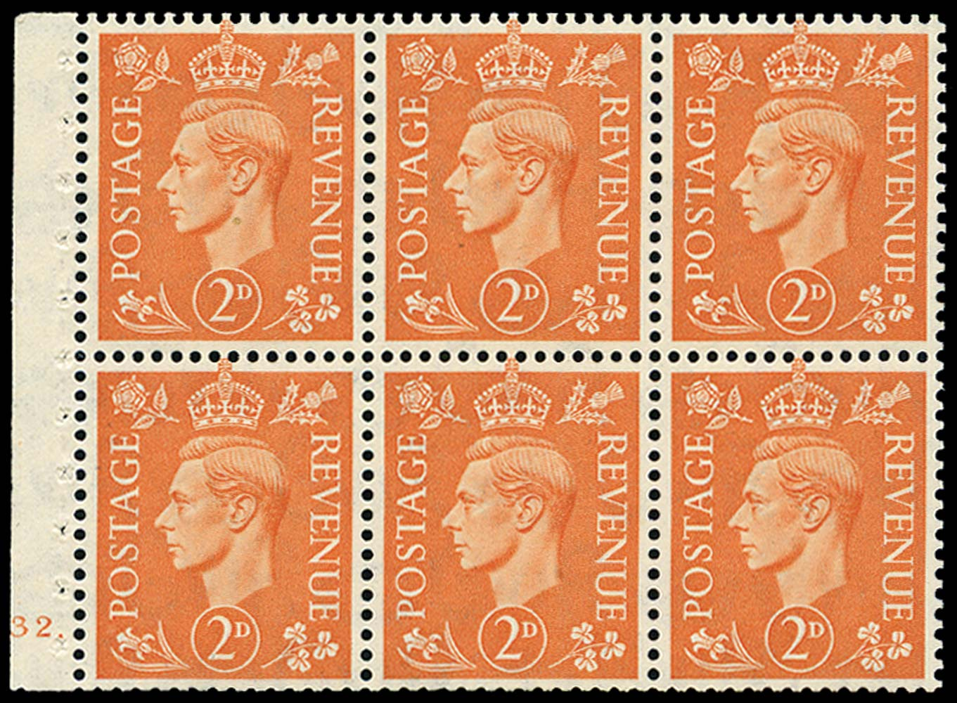 GB 1942  SG488l Booklet pane of six, U/M
