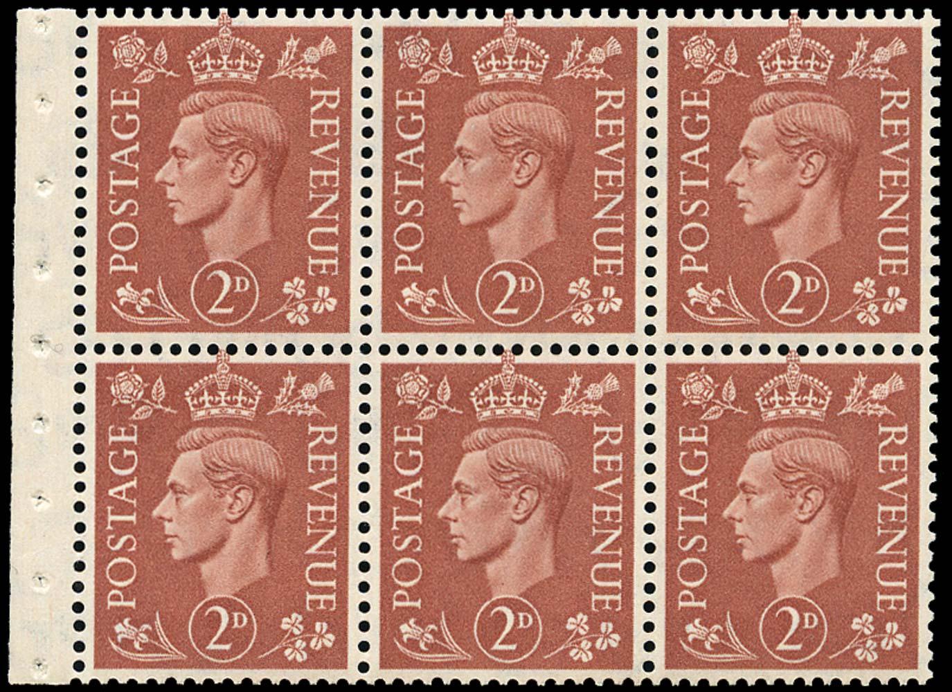 GB 1951  SG506l Booklet pane of six, U/M
