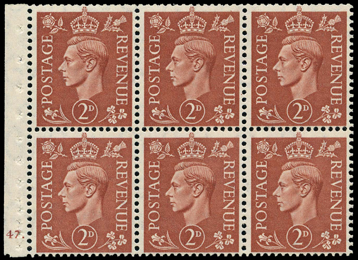 GB 1951  SG506l Booklet pane of six, U/M