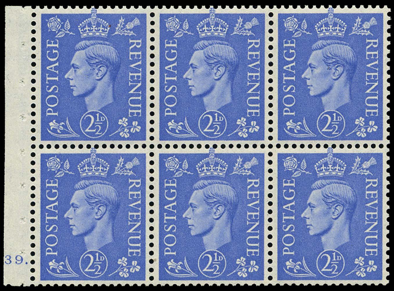 GB 1942  SG489l Booklet pane of six, U/M