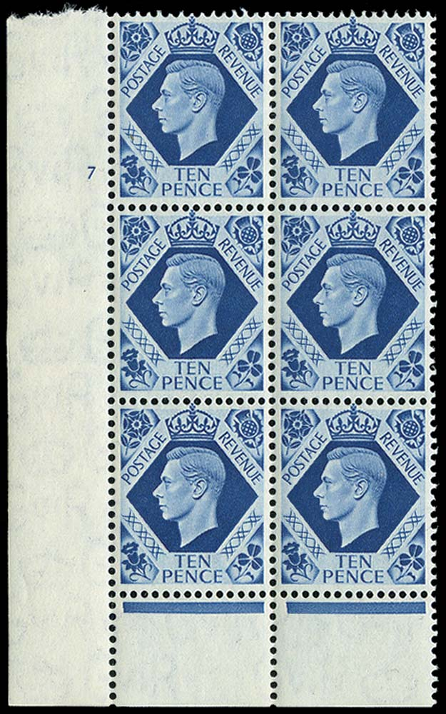 GB 1939  SG474 Mint Cylinder block of six, 7 no dot