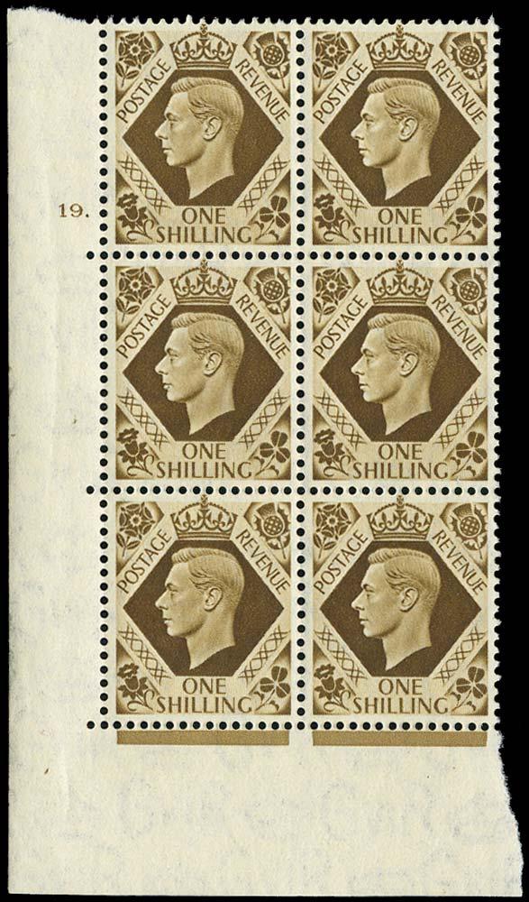 GB 1939  SG475 Mint Cylinder block of six, 19 dot