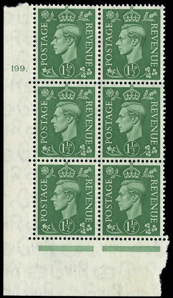 GB 1951  SG505 Mint Cylinder block of six, 199 dot