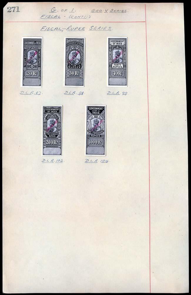 INDIA 1914 Revenue Engraver's Proof Set