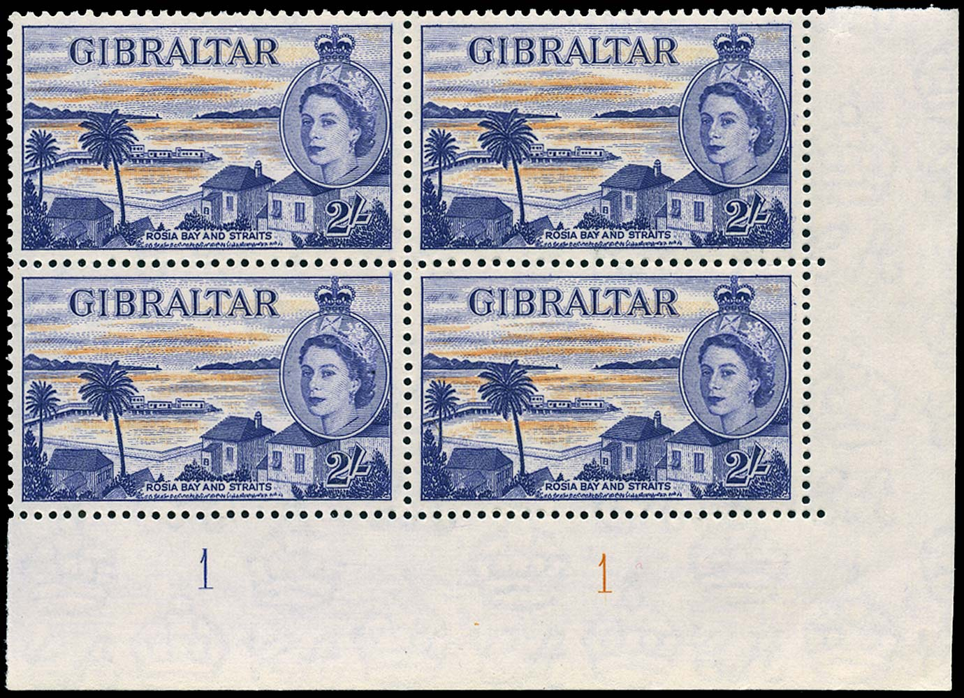 GIBRALTAR 1953  SG155 Mint 2s orange and reddish violet unmounted