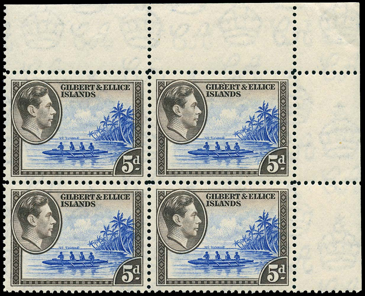 GILBERT & ELLICE IS 1943  SG49a Mint 5d ultramarine and sepia unmounted