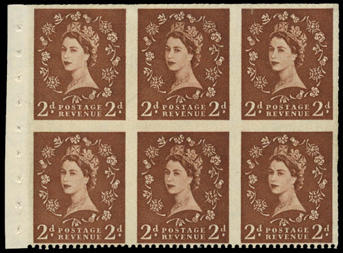 GB 1956  SG543blb Booklet pane - Imperforate