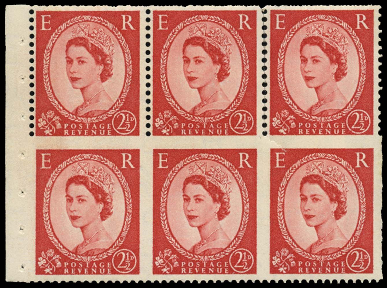 GB 1957  SG544blc Booklet pane - part perf.