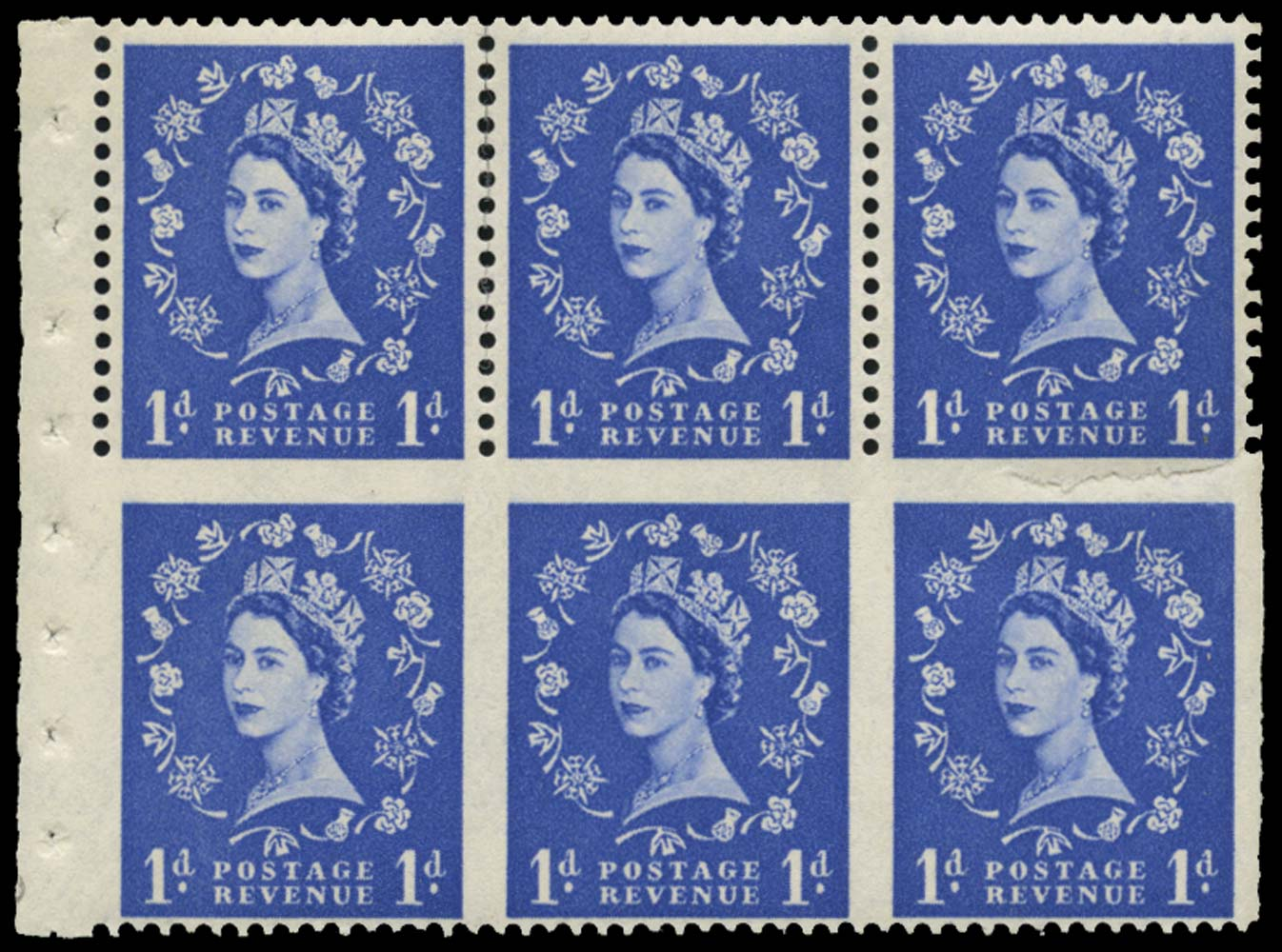 GB 1958  SG571lc Booklet pane - part perf.