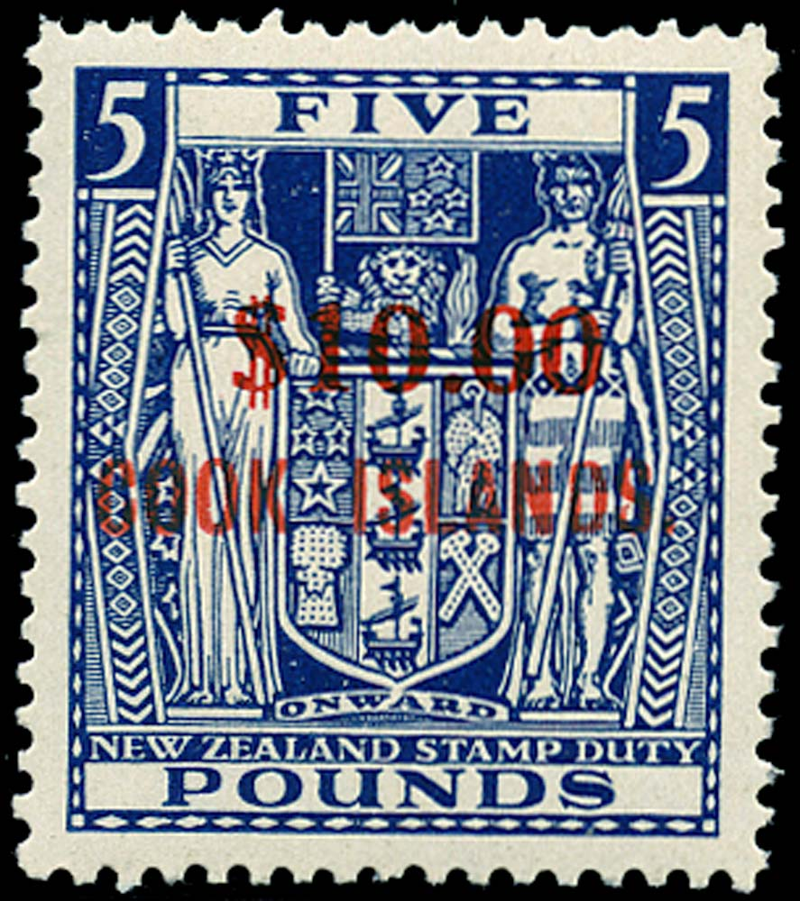 COOK ISLANDS 1967  SG221 Mint $10 on $5 watermark upright unmounted