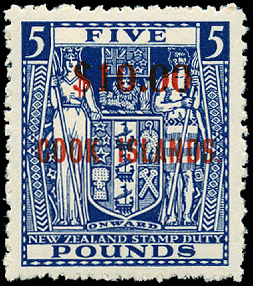 COOK ISLANDS 1967  SG221w Mint $10 on £5 blue watermark inverted unmounted