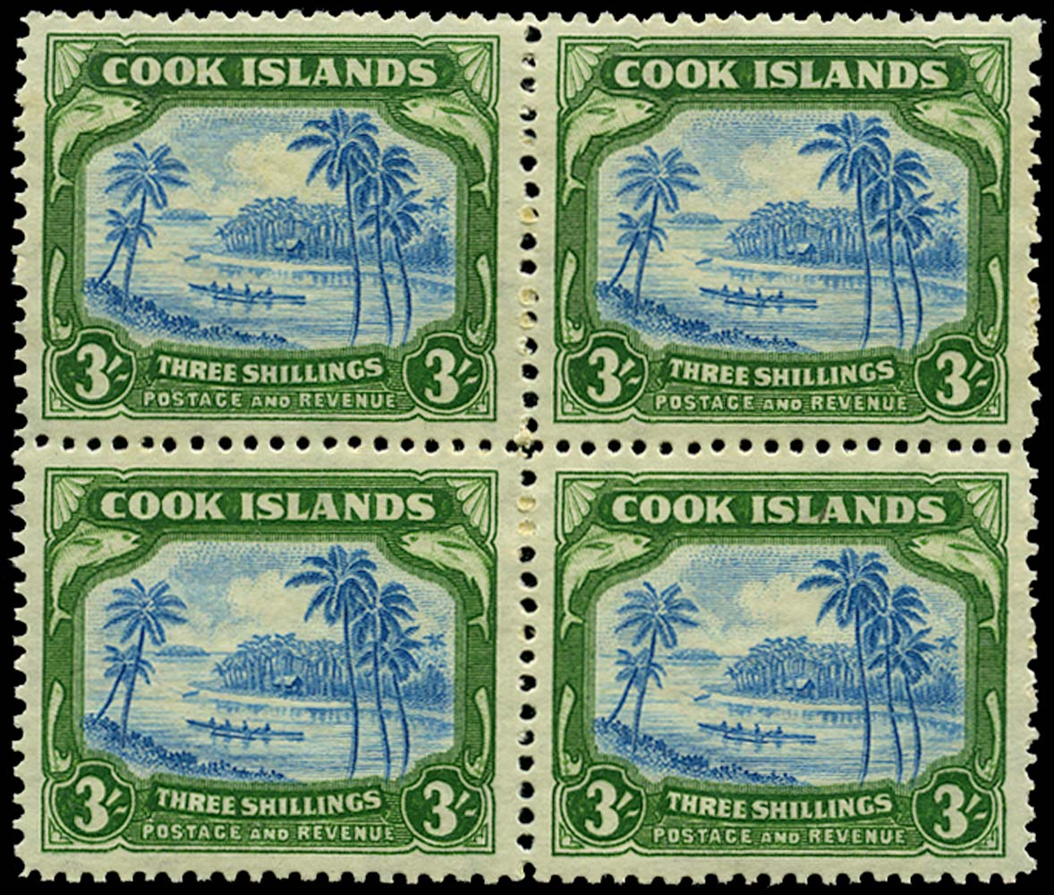 COOK ISLANDS 1945  SG145 Mint 3s greenish blue and green wmk 98 unmounted