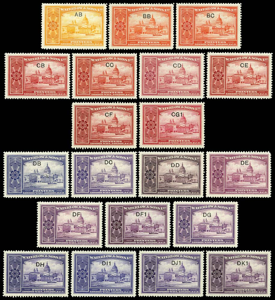 GB 1932 Cinderella Waterlow & Sons colour key sample labels