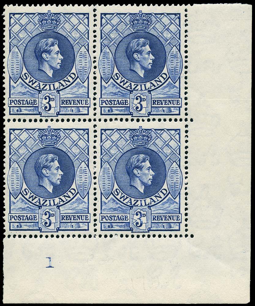 SWAZILAND 1947  SG32d Mint 3d deep blue perf 13½x14 unmounted