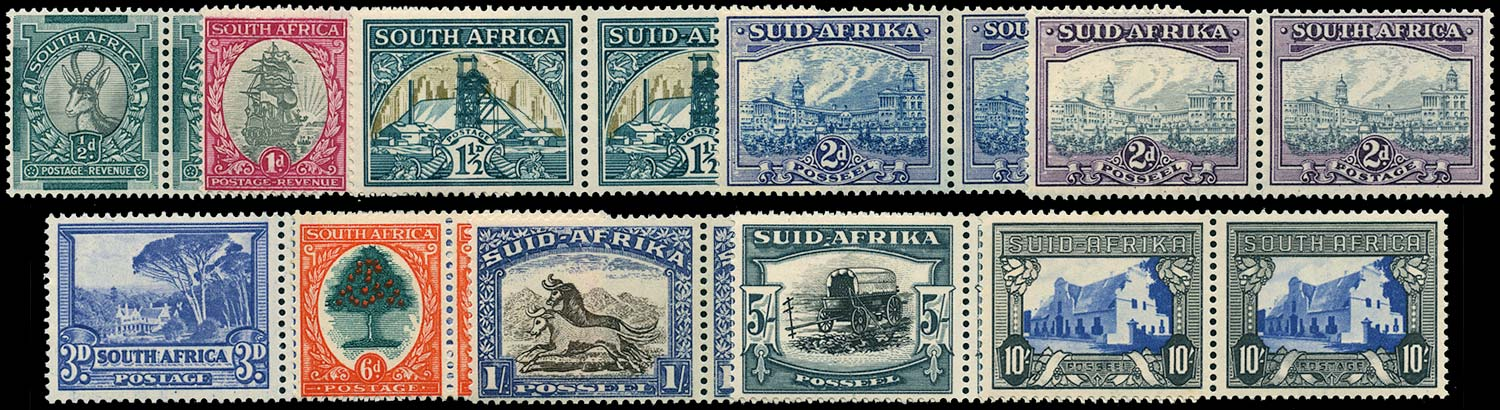 SOUTH AFRICA 1933  SG54/64c Mint hyphenated set of 10 to 10s unmounted