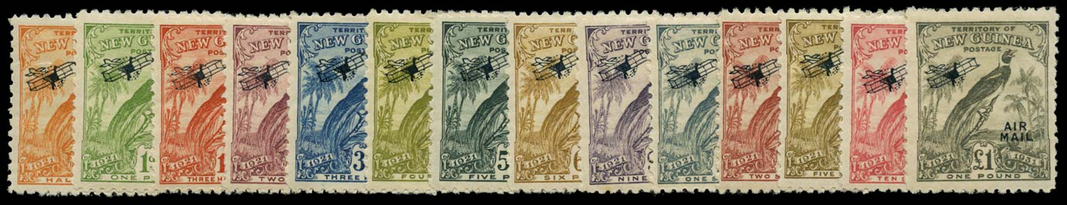 NEW GUINEA 1931  SG163/76 Mint Bird of Paradise airmail set with dates